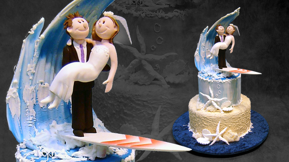 beach-theme-wedding-cake-with-surfing-couple-topper
