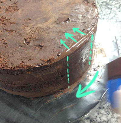 Only scrape a small section of the cake at a time.