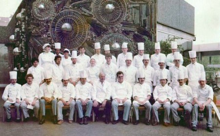 Executive Chef Gunter Scherrer (5th from right) and his crew with famous restaurateur Rudolf Katzenberger (6th from right). This photo was taken during Katzenberger's one week promotion in San Francisco Restaurant.