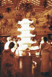 4 metre high sugar pagoda carried in to the ball room by hand by students of the ballet school