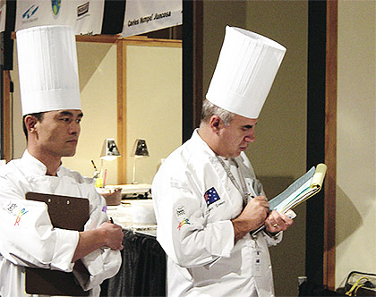 With Japanese Judge Tatsuya Kijima during 2002 World Pastry Championships, Las Vegas.