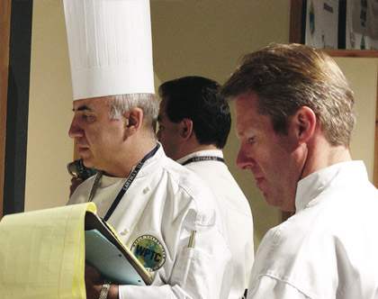 Judging with USA Judge Mr Ewald Notter during 2002 World Pastry Championship Las Vegas.