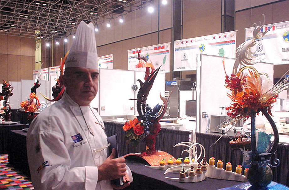Winning Team USA chocolate and sugar centerpieces 2004 World Pastry Championship, Las Vegas.