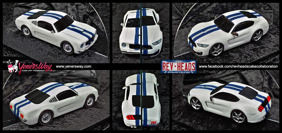Rev heads cake collaboration for ford mustangs 50th anniversary different views of the 19652016 ford mustang car cake malvernweather Gallery