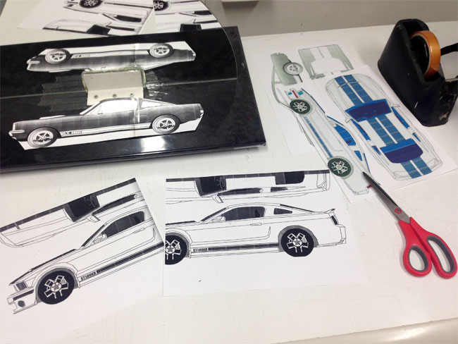 Rev heads cake collaboration for ford mustangs 50th anniversary joining actual size blueprints malvernweather Gallery