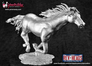 Chocolate margarine horse sculpture sprayed with silver