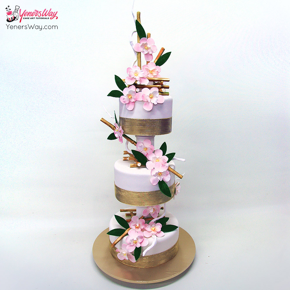 bamboo-and-orchids-wedding-cake
