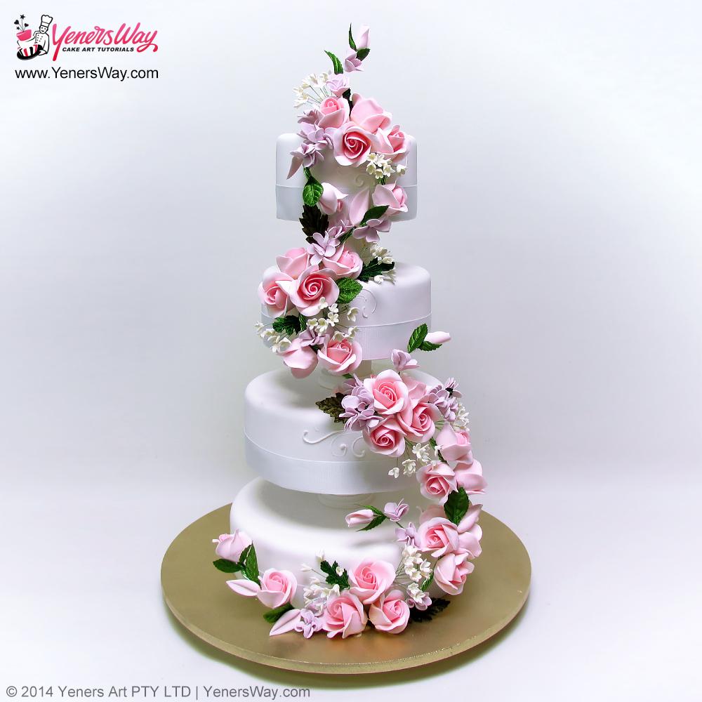 climbing-floral-bouquet-wedding-cake
