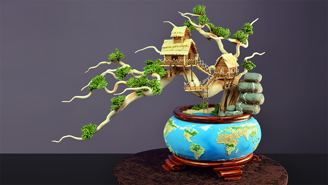 Earth Day Bonsai Tree Cake Yeners Way