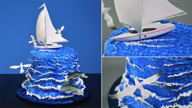 Ocean Themed Fondant Scenery Cake