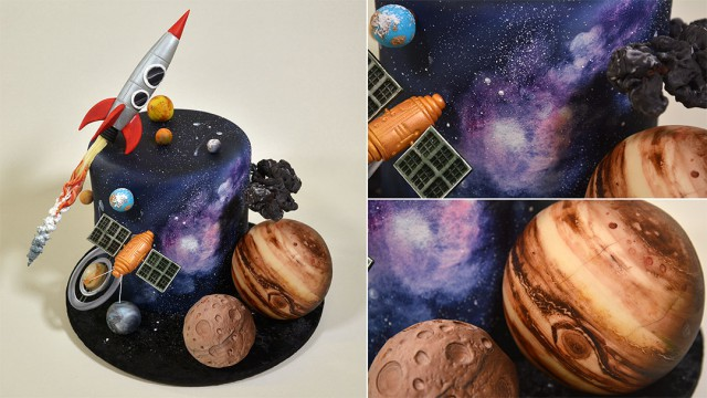 Space Themed Fondant Scenery Cake