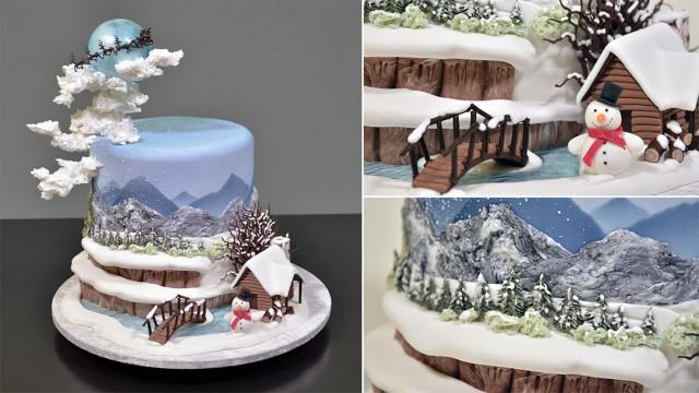 Winter Themed Fondant Scenery Cake