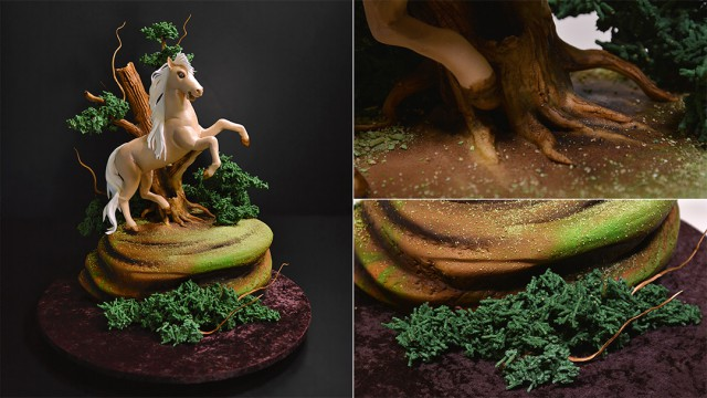 Prancing Horse in the Woods Cake