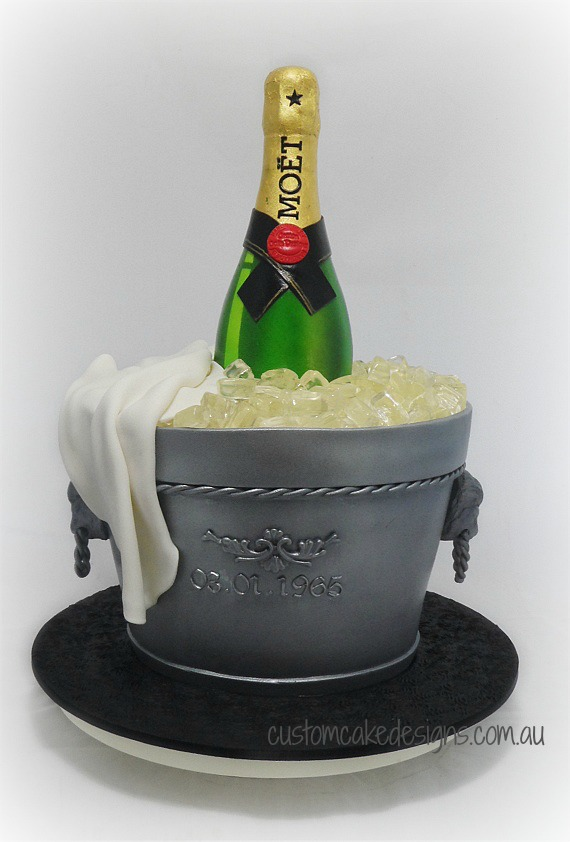 3d Champagne Bottle Ice Bucket Cake Yeners Way