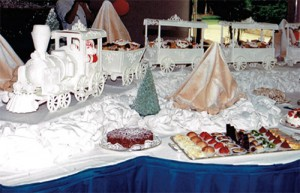 Santa's sugar train filled with goodies.
