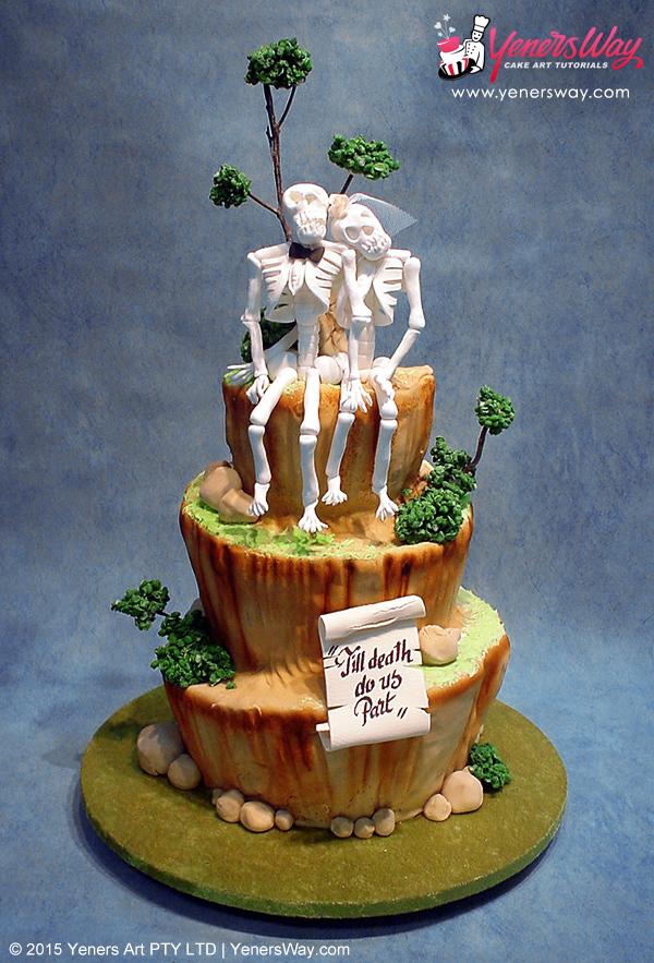 3 Tier Till Do Us Part Wedding Cake With Skeleton Topper
