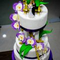bamboo and orchid wedding cake