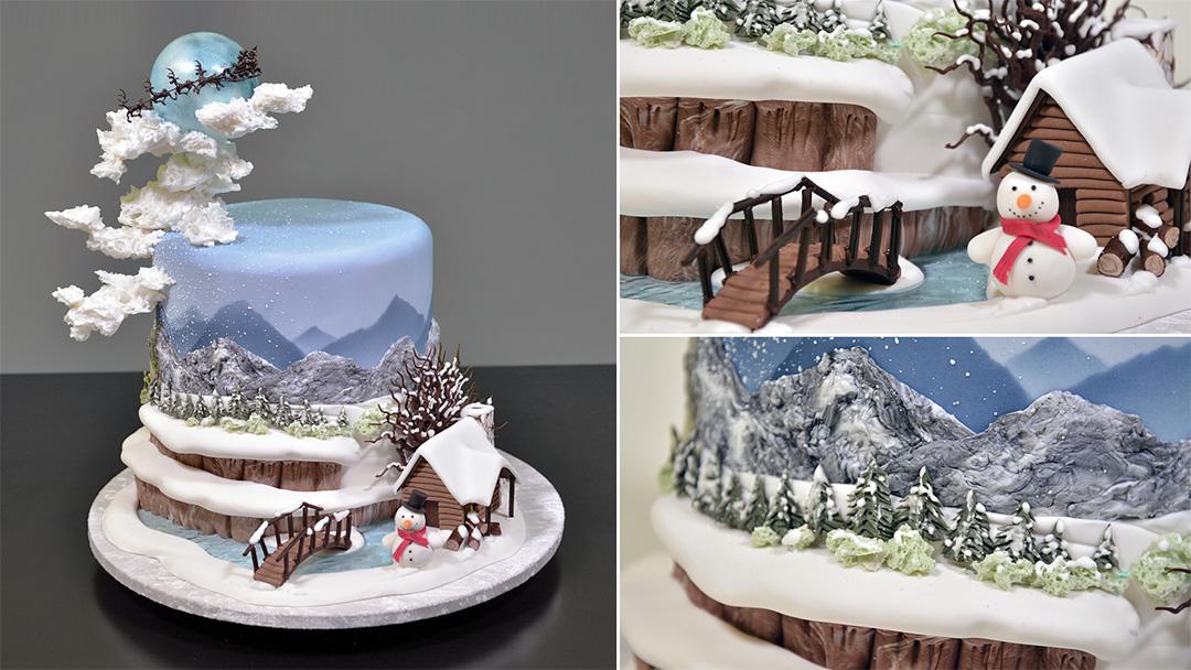 Winter Themed Fondant Scenery Cake - Yeners Way
